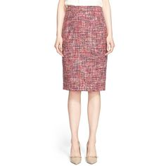 ESCADA Tweed Pencil Skirt (27.585 RUB) ❤ liked on Polyvore featuring skirts, amethyst, red knee length pencil skirt, escada, knee length skirts, escada skirts and red skirt