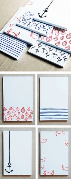 Hand-printed notepads.