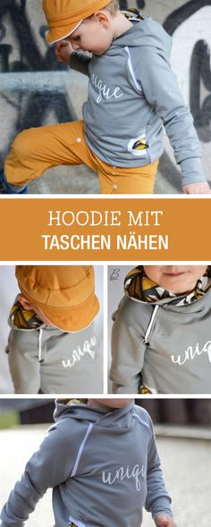 Kostenlose Nähanleitung und Schnittmuster für einen Hoodie mit Kapuze und Taschen / diy sewing tutorial and pattern: sewing a hoodie for kids via DaWanda.com