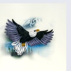Quilled bald eagle greeting card