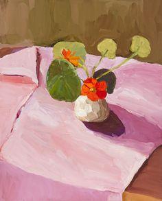 ~ Laura Jones – Nasturtiums in Alex's vase 2014, oil on linen