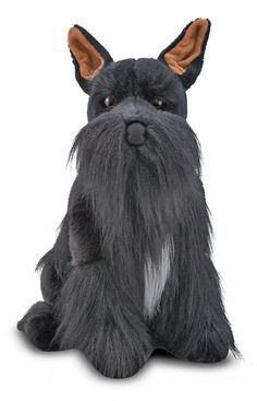 "This Miniature Schnauzer is practically irresistible. With excellent quality construction and attention to lifelike details, such as its perky pink-lined ears and a long, droopy ""mustache"", this dog is content to collect hugs all day."
