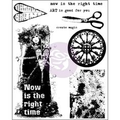 Prima Flowers NOW IS THE RIGHT TIME Cling Stamp Finnabair 962067