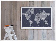 * affiche 'silk print' world type map, coloris ardoise *