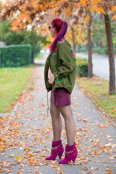 burgundy suede skirt