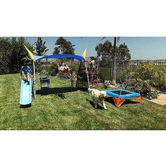 """IRONKIDS """"Cooling Mist"""" Inspiration 850 Total Fitness Playground Metal Swing Set with UV Protective Sunshade"""