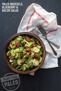 Paleo Brussels Sprouts, Blueberry and Bacon Salad | stupideasypaleo.com #paleo #whole30 #realfood