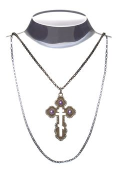 Lioube ' de luxe ' luxury Orthodox cross, pink gold, amethyst cabochon, fresh pearls all around, gold darkened chain, for you mistery !!!!!