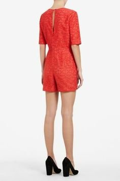 BCBG lace romper...with white blazer and nude wedges