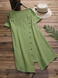 Vintage Solid Color Long Shirts for Women