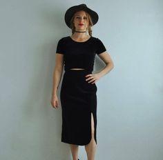 Vintage Velvet High Waisted Midi Skirt w/ Side Slit & Buttons
