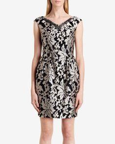 Embellished jacquard tulip dress