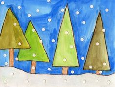 These Geometric Winter Trees will help students focus on making lots of shades of green. I asked mine to make at least three different ones.