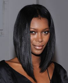 nice cut for Jessica White, black straight hairstyle #wigs