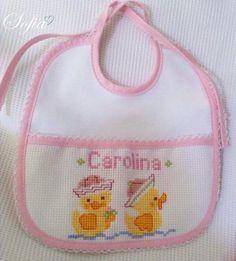 Cross Stitching, Cross Stitch Embroidery, Hand Embroidery, Cross Stitch Patterns, Cross Stitch For Kids, Cross Stitch Baby, Monochrom, Baby Bibs, Needlework