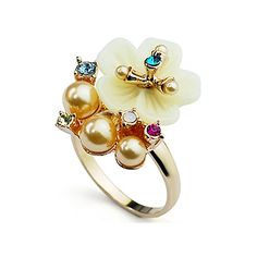 Headgear act the role ofing is tasted eletroplate ring of ring of crystal of small flower of pearl o...