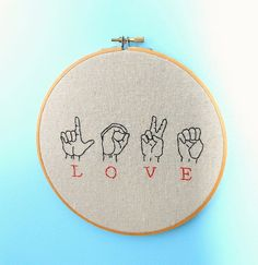 Wall Art Hand Embroidered  Love  Sign Language by bleuroo on Etsy