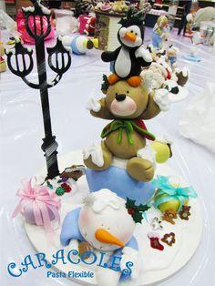 Snowman, bear, penguin