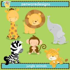 Pink Jungle Animal Digital Paper Jungle Animal Baby Shower