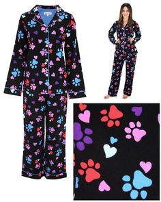 Go to bed with love in your heart. Our flannel pajamas are covered collar to cuff in an adorable paw print and heart design to carry you off to dreamland.