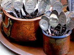 """Personalized coffee spoons: Let the the latte-loving """"J. Alfred Prufrock"""" fan in your life measure out his or her life with these charmingly rough-hewn, hand-pressed personalized coffee spoons. Espresso Coffee, Best Coffee, Stamped Spoons, Hand Stamped, Best Espresso Machine, Coffee Varieties, Coffee Spoon, Coffee Mugs, Coffee Time"""