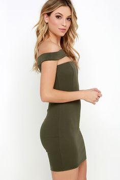 Modern Take Olive Green Off-the-Shoulder Dress at Lulus.com!