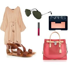"""vacation outfit - love the big """"holiday bag"""""""