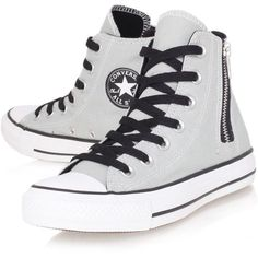 Ct Side Zip Hi Converse Grey ($43) found on Polyvore featuring shoes, sneakers, converse, sapatos, all star, grey, high top canvas shoes, canvas high top sneakers, high top shoes and hi top canvas sneakers