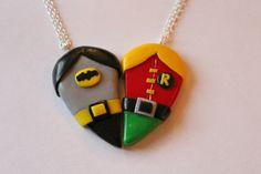 CharmingClayCreation: Batman and Robin Inspired Friendship Necklaces or Magnets - £10