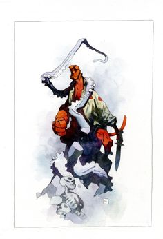 Hellboy Watercolor Painting by Mike Mignola, in Tyson S's Comic Art Comic Art Gallery Room Comic Book Artists, Comic Artist, Comic Books Art, Hellboy Tattoo, Mike Mignola Art, Fantastic Four Comics, Comic Layout, Captain America Comic, Paper Illustration