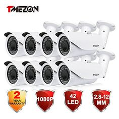 TMEZON 8 Pack OSD Menu AHD Camera 20MP 1080P HD 4In1 2812mm Varifocal Zoom 42IR LEDs Hybrid Surveillance Security Camera -- Click image to review more details. (This is an affiliate link) #HomeSurveillanceSystem