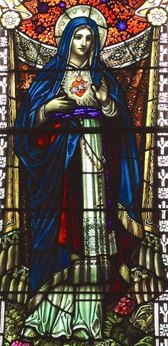 Stained glass image of Our Lady in St Andrew's, Billerica