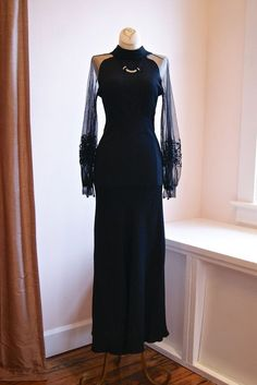 evening gown with sleeves 30s Dress // Vintage 1930s Bias Cut Evening Gown With Net Sleeves Femme Fatale(400)