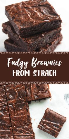 Easy Fudgy Brownies From Scratch – Dessert Recipes Best Dessert Recipes, No Bake Desserts, Delicious Desserts, Yummy Food, Healthy Recipes, Brownie Recipes, Cookie Recipes, Oreo, Brownies From Scratch