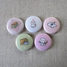 neko atsume playful cats 5 pack pinback buttons by heartsandcats