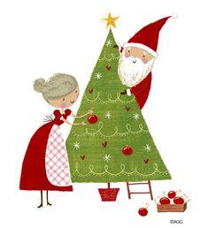 Richard Faust Santa and Mrs Claus illustration