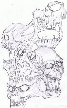 Creepy Drawings, Dark Art Drawings, Tattoo Design Drawings, Skull Tattoo Design, Art Drawings Sketches, Evil Skull Tattoo, Skull Tattoos, Tatoos, Skull Coloring Pages
