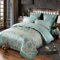 Purple flowers Satin Silk Jacquard Bedding Set Home Textile Luxury bedclothes bed linen sheet set cotton queen king Size. Category: Home & Garden. Subcategory: Home Textile. Shabby Chic Bedding Sets, Teal Bedding Sets, Bedding Sets Online, Comforter Sets, Linen Bedding, Bed Linen, Sheets Bedding, Bed Sets, Camas Shabby Chic