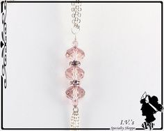Pink Crystal Bead Pendant Necklace by IVsSpecialtyShoppe on Etsy