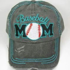 "Mom For The Team ""Baseball Mom"" Cap Distressed hat has velcro adjustment in the back. Accessories Hats"