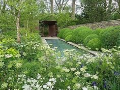 Garden Designs Ideas 2018 : Laurent-Perrier Garden by Tom Stuart Smith Chelsea 2010 -- my idea of Dill & Boxwoods + other flowers interspersed May 2019 Back Gardens, Outdoor Gardens, Water Features In The Garden, Woodland Garden, Garden Types, Garden Cottage, Chelsea Flower Show, White Gardens, Water Garden