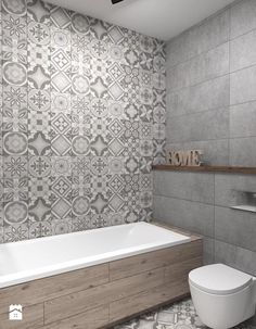 Salle de bain carreau de ciment luxe å azienka styl industrialny zdjä™cie od rt Bathroom Floor Tiles, Wood Bathroom, Bathroom Toilets, Grey Bathrooms, Laundry In Bathroom, Small Bathroom, Bathroom Ideas, Shower Tiles, White Bathroom
