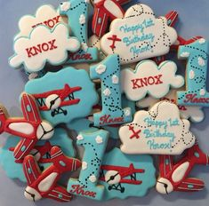 Vintage Airplane themed custom cookies For more info please visit my page or email me /busybeecakery malinda@ 1st Birthday Boy Themes, 3rd Birthday Parties, Birthday Ideas, 2nd Birthday, Airplane Birthday Cakes, Time Flies Birthday, Birthday Cookies, 1st Birthdays, Baby Shower
