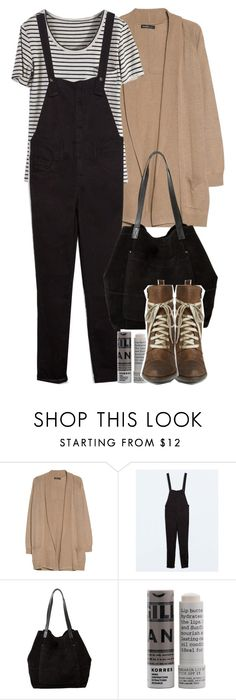 """Malia Inspired Outfit with Black Overalls"" by veterization ❤ liked on Polyvore featuring MANGO, Zara, Korres and Miz Mooz"