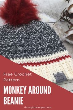 The Monkey Around Beanie free crochet pattern gives the classic look of the sock monkey wiht a moder twist. This easy to follow pattern is perfect for gifting!