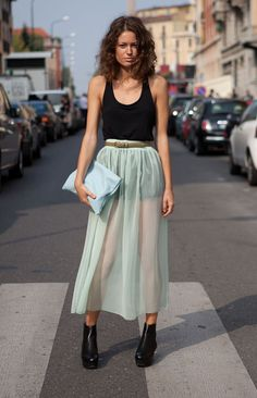 Street style Extralarge skirt transparent