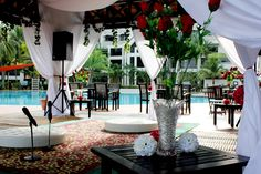 outdoor akad nikah at pool side area