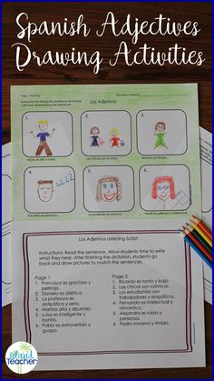 Spanish Adjectives drawing activities. Ideas for incorporating listening, reading, writing and speaking.