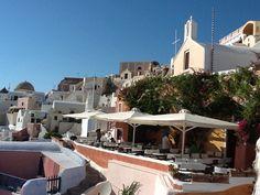 Oia dining, Santorini Rooftop, Oia Santorini, Mansions, Dining, House Styles, Home Decor, Food, Decoration Home, Room Decor