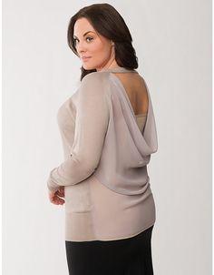 Plus Size Draped Chiffon Back Sweater    Lane Bryant